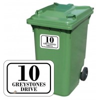 Personalised A6 Wheelie Bin Stickers SET of 4 (matching) ROUNDED BIN STICKERS