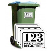 Personalised A6 Wheelie Bin Stickers SET of 4 (matching)