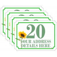 Personalised A6 Wheelie Bin Stickers SET of 4 (matching) FLOWER DESIGN