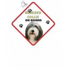 Bearded Collie  Hanging Car Sign   25