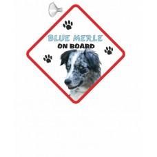 Border Collie Blue Merle  Hanging Car Sign   34
