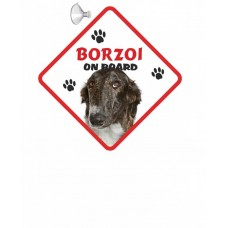 Borzoi Brindle Hanging Car Sign   37