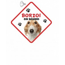 Borzoi  Brown & White Hanging Car Sign   38
