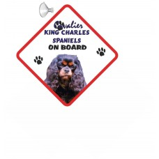 Cavalier King Charles Spaniel (BK & Tan) Hanging Car Sign   57