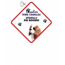 Cavalier King Charles Spaniel (live and White)  Hanging Car Sign   59