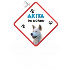 Akita (white coloured)  Hanging Car Sign   6