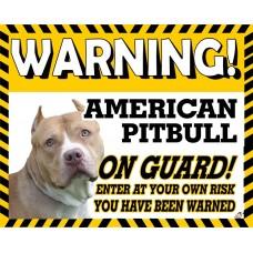 American Pitbull (tilted head) Yellow warning metal sign  Dishwasher  proof 12