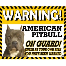 American Pitbull (pointed ears)  Yellow warning metal sign  Dishwasher  proof 13