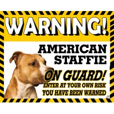 American Staffordshire Bullterrier (standing up)Yellow warning metal sign   14