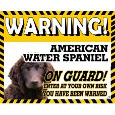 American Water Spaniel Yellow warning metal sign   15