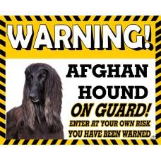 Afghan Hound (Black) Yellow warning metal sign   2