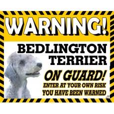 Bedlington Terrier  Yellow warning metal sign   27