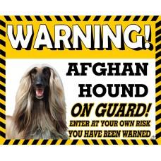 Afghan Hound (Blonde) Yellow warning metal sign   3