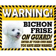 Bichon Frise  Yellow warning metal sign   31