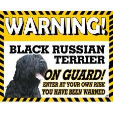 Black Russian Terrier Yellow warning metal sign   32