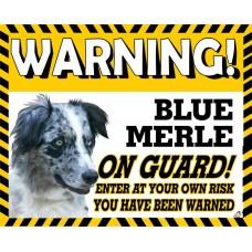 Border Collie Blue Merle  Yellow warning metal sign   34