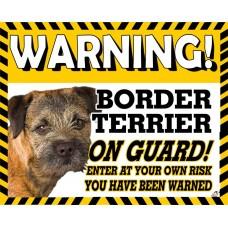 Border Terrier (head shot) Yellow warning metal sign   36
