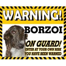 Borzoi Brindle Yellow warning metal sign   37