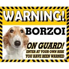 Borzoi  Brown & White Yellow warning metal sign   38