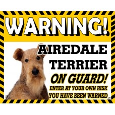 Airedale Terrier Yellow warning metal sign   4