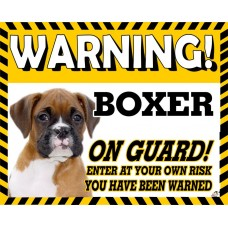 Boxer (young)  Yellow warning metal sign   43