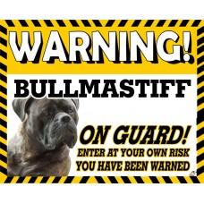 Bullmastiff (Brindle) Yellow warning metal sign   52