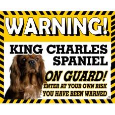Cavalier King Charles Spaniel (Brown)  Yellow warning metal sign   58