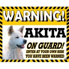 Akita (white coloured)  Yellow warning metal sign   6