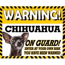 Chihuahua (Black)  Yellow warning metal sign   61