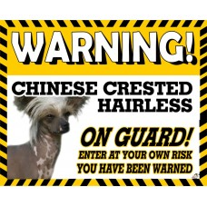Chinese Crested Hairless Yellow warning metal sign   69