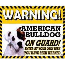 American Bulldog  Yellow warning metal sign   7