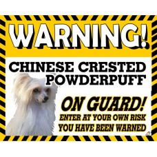 Chinese crested Powder puff  Yellow warning metal sign   70