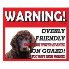 American Water Spaniel RED warning metal sign   15