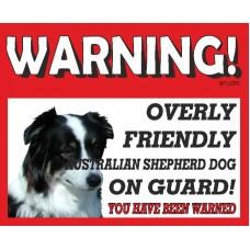 Australian Shepherd  RED warning metal sign   18