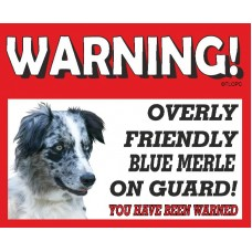 Border Collie RED warning metal sign   35