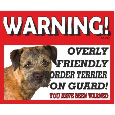 Border Terrier (head shot) RED warning metal sign   36