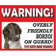 Borzoi Brindle RED warning metal sign   37