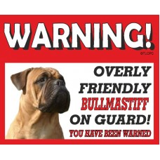Bullmastiff (Brindle) RED warning metal sign   52