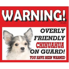 Chihuahua (WT & BK LH)  RED warning metal sign   65