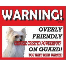 Chinese crested Powder puff  RED warning metal sign   70