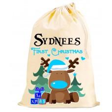 1st Christmas peronalised SACK - Boys Blue bag