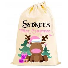 1st Christmas peronalised SACK - Girls Pink bag