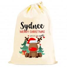 Personalised Santa Sacks (Reindeer RED VERSION)