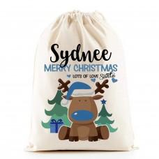 Personalised Santa Sacks (Reindeer BLUE Boy)