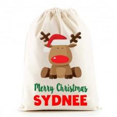 personalised Santa Sack - Reindeer and NAME design